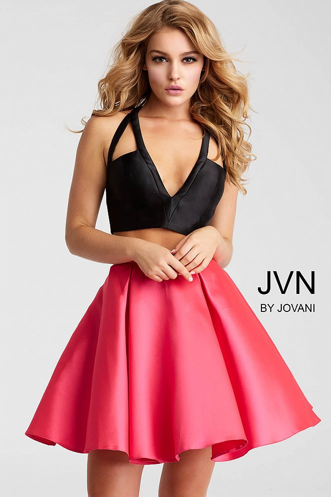 Black and Fuchsia Two Piece Fit and Flare Short Dress JVN57208