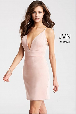 Blush Fitted Spaghetti Straps Short Dress JVN57292
