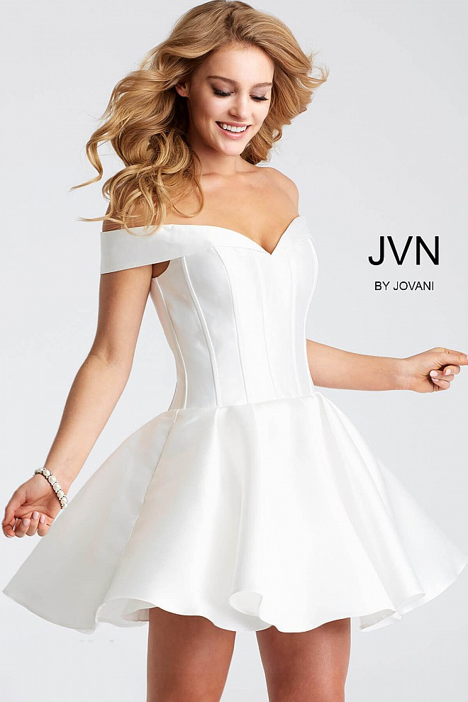 White Off the Shoulder Fit and Flare Short Dress JVN57854
