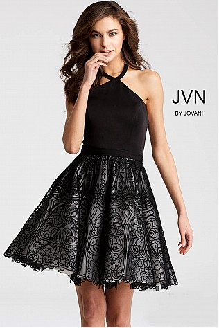 Black and White Halter Neck sleeveless Short Dress JVN58127