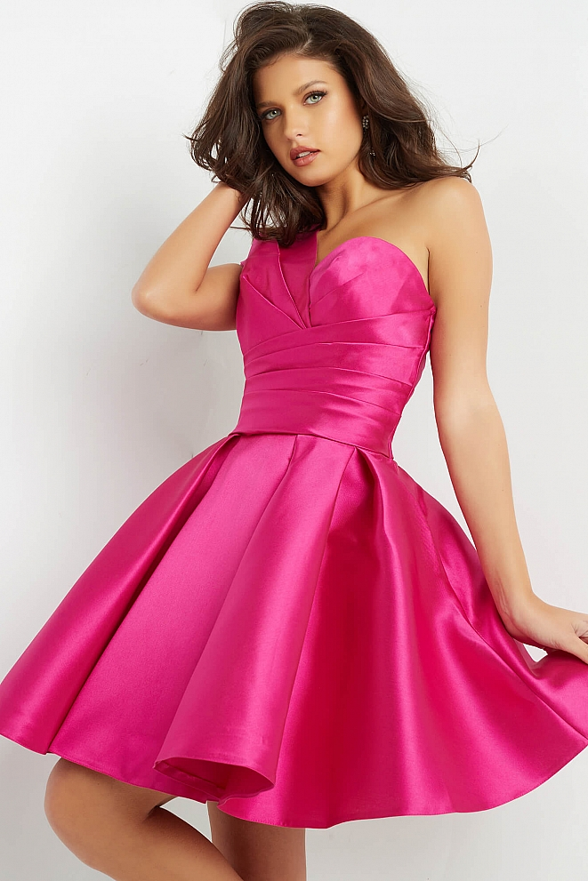 JVN05270 Fuchsia One Shoulder Fit and Flare Dress