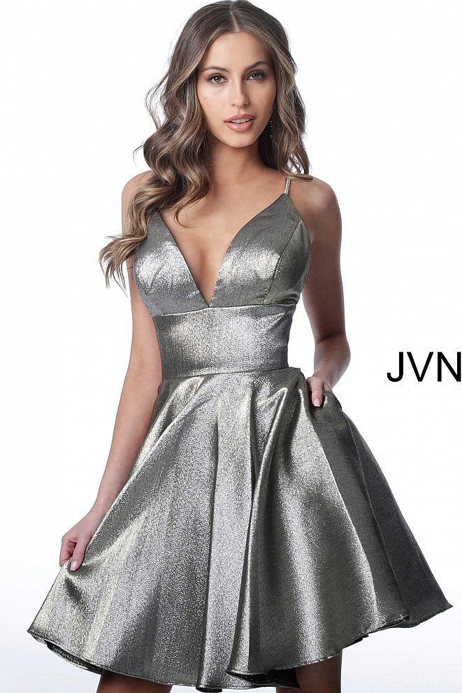 JVN3782 Grey Plunging Neckline Metallic Homecoming Dress