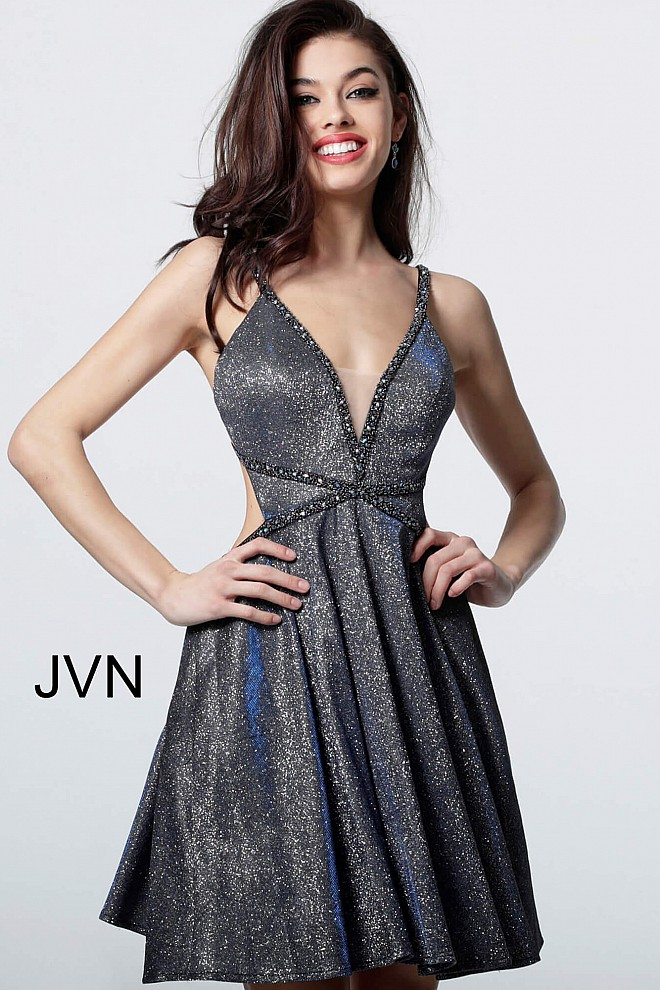 c6234e4669e Blue short fit and flare sleeveless open back homecoming dress jvn4281.