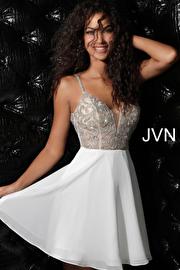 Ivory Embellished Sheer Bodice Chiffon Homecoming Dress JVN53178
