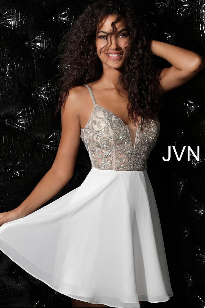 JVN53178 Ivory Embellished Sheer Bodice Chiffon Homecoming Dress