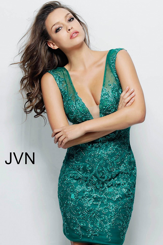 Emerald Green V Neckline Fitted Short Dress JVN55145