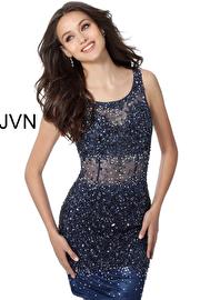 Jvn Navy Blue Sheer Beaded Short Dress JVN55770