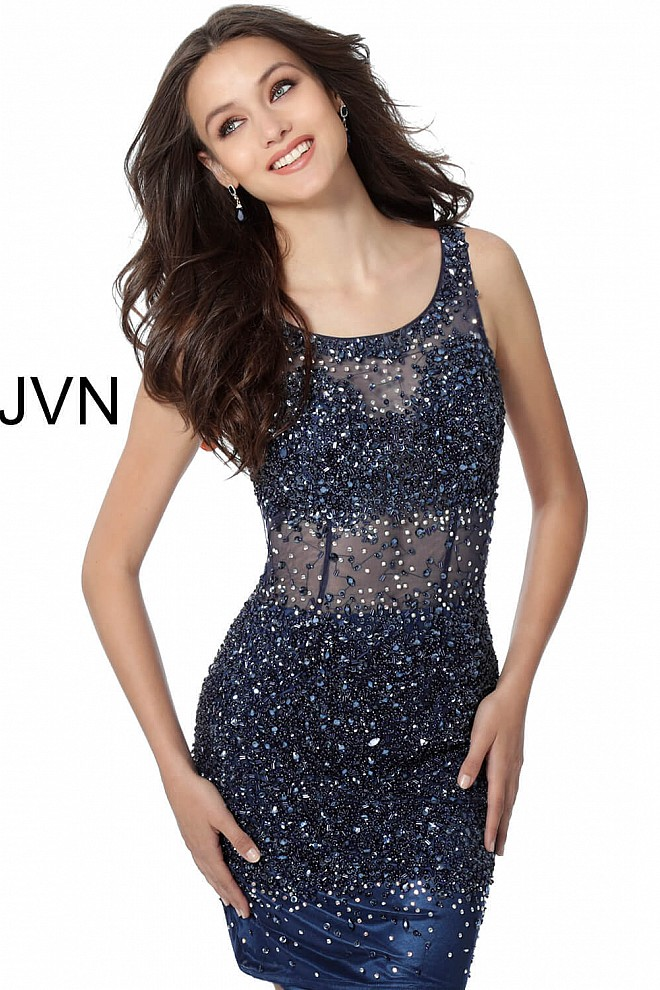 Navy Blue Sheer Beaded Short Dress JVN55770