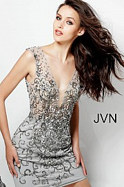 Jvn Silver Beaded V Neck Backless Short Dress  JVN58634