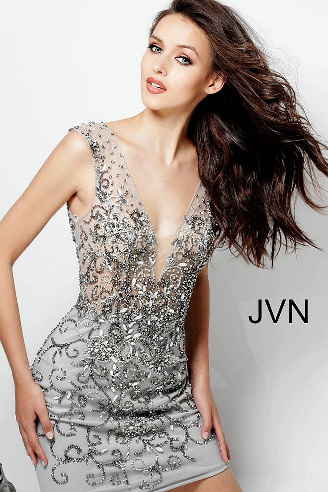 Silver Beaded V Neck Backless Short Dress  JVN58634
