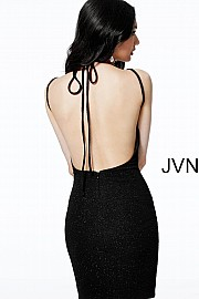 Black Glitter Jersey Short Backless Dress JVN61622