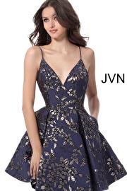 Jvn Navy Silver Print V Neck Homecoming Dress with Pockets JVN61889