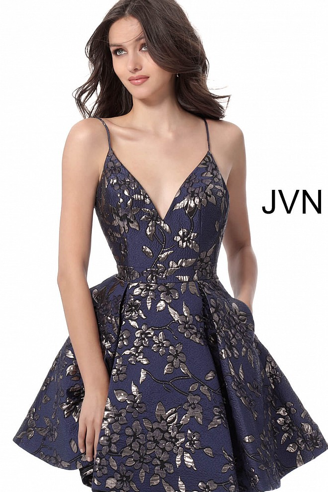 Navy Silver Print V Neck Homecoming Dress with Pockets JVN61889