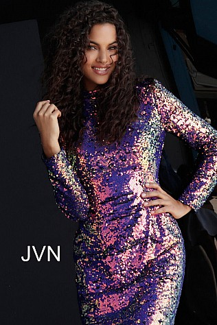 Purple Multi Long Sleeve Sequin Homecoming Dress JVN62310