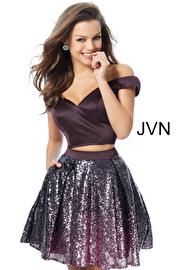 Jvn Eggplant Two Piece Off the Shoulder Homecoming Dress JVN62314