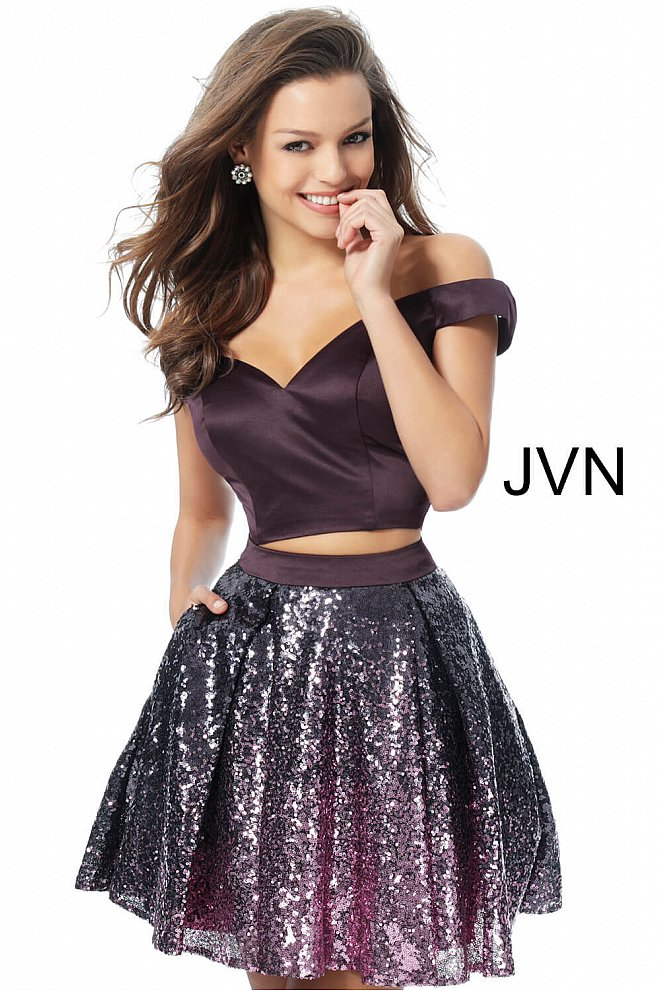 Eggplant Two Piece Off the Shoulder Homecoming Dress JVN62314