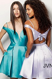 Teal Off the Shoulder Fit and Flare Homecoming Dress JVN62317