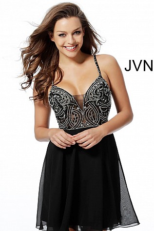 Black Embellished Bodice Chiffon Homecoming Dress  JVN62319