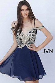 Navy Off the Shoulder Embroidered Bodice Homecoming Dress JVN62322