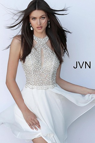 Off White Beaded High Neck Bodice Homecoming Dress JVN62327
