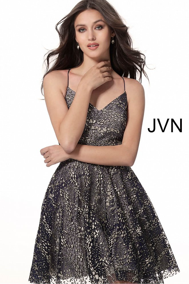 JVN62363 Navy Nude V Neck Spaghetti Straps Glitter Homecoming Dress