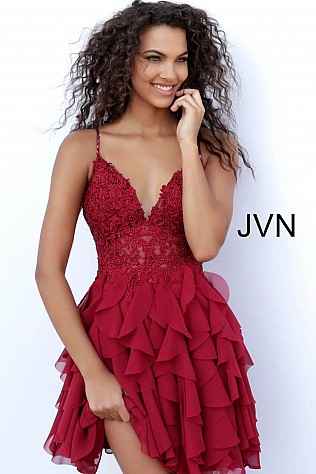 Burgundy Ruffle Skirt Spaghetti Straps Homecoming Dress  JVN62417