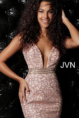 JVN62508 Blush Glitter Embellished Fitted Homecoming Dress