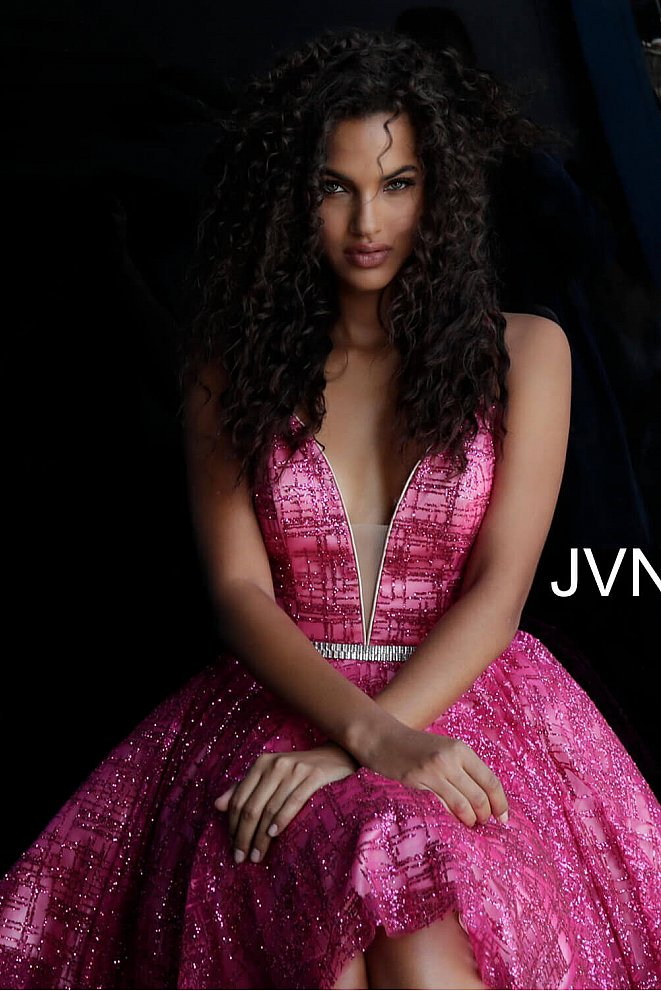 JVN62512 Fuchsia Deep V Neckline Homecoming Dress