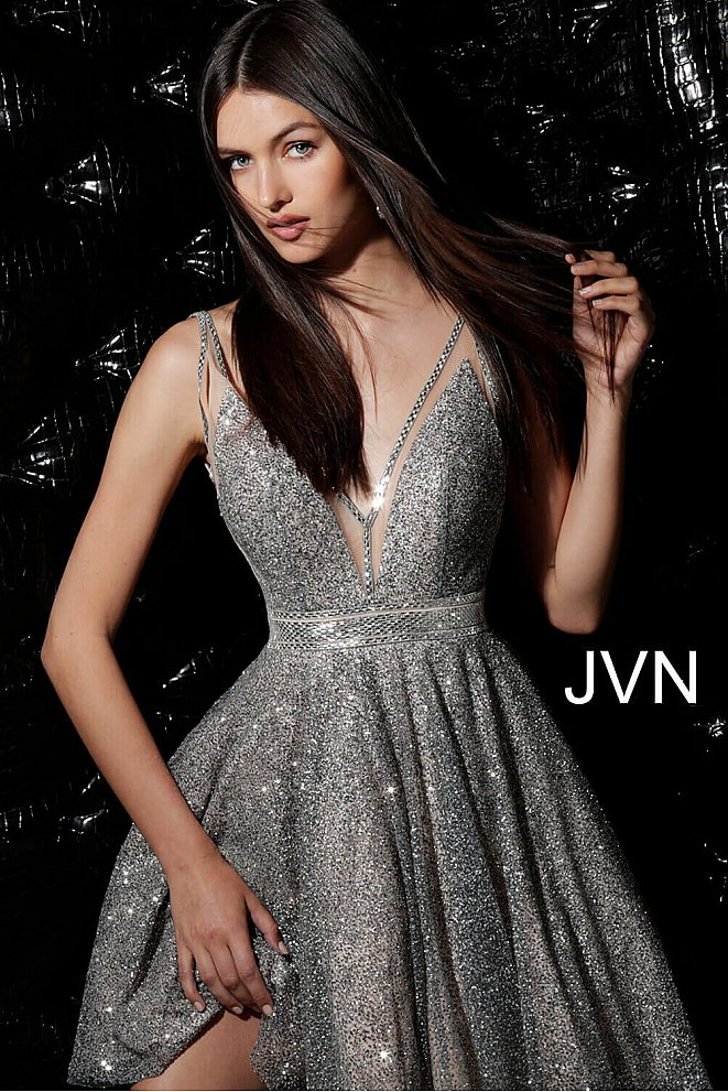 JVN62516 Silver Nude Fit and Flare Glitter Homecoming Dress
