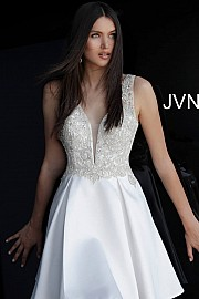 White Beaded Bodice Open Back Dress  JVN62563