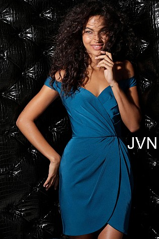 Teal Ruched Off The Shoulder Short Dress JVN62598