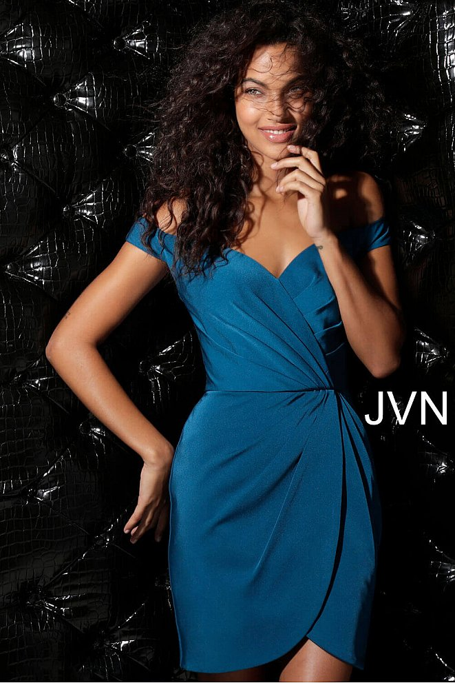 JVN62598 Teal Ruched Off The Shoulder Short Dress