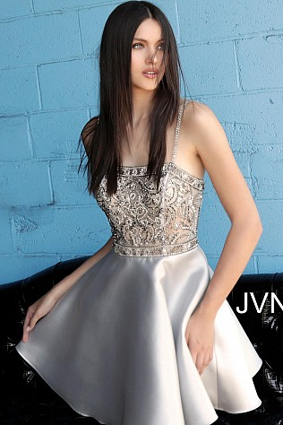 Silver Fit and Flare Beaded Bodice Homecoming Dress JVN62616