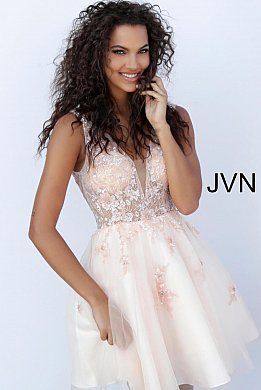 JVN62620 Blush Fit and Flare Embroidered-Homecoming Dress