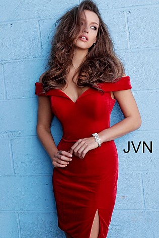 Red Off the Shoulder Velvet Homecoming Dress JVN62642