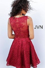 Burgundy Lace Fit and Flare Embroidered Homecoming Dress JVN62710