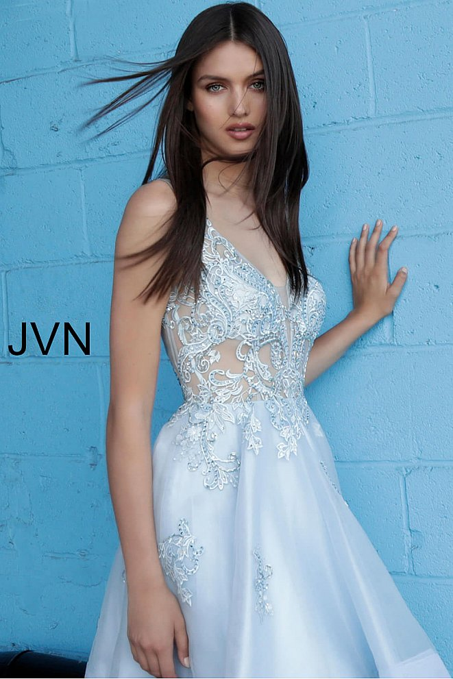 JVN62715 Light Blue Embroidered Fit and Flare Homecoming Dress
