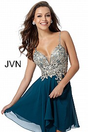 Teal Embroidered Bodice Chiffon Homecoming Dress JVN62738