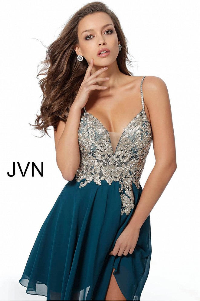 JVN62738 Teal Embroidered Bodice Chiffon Homecoming Dress