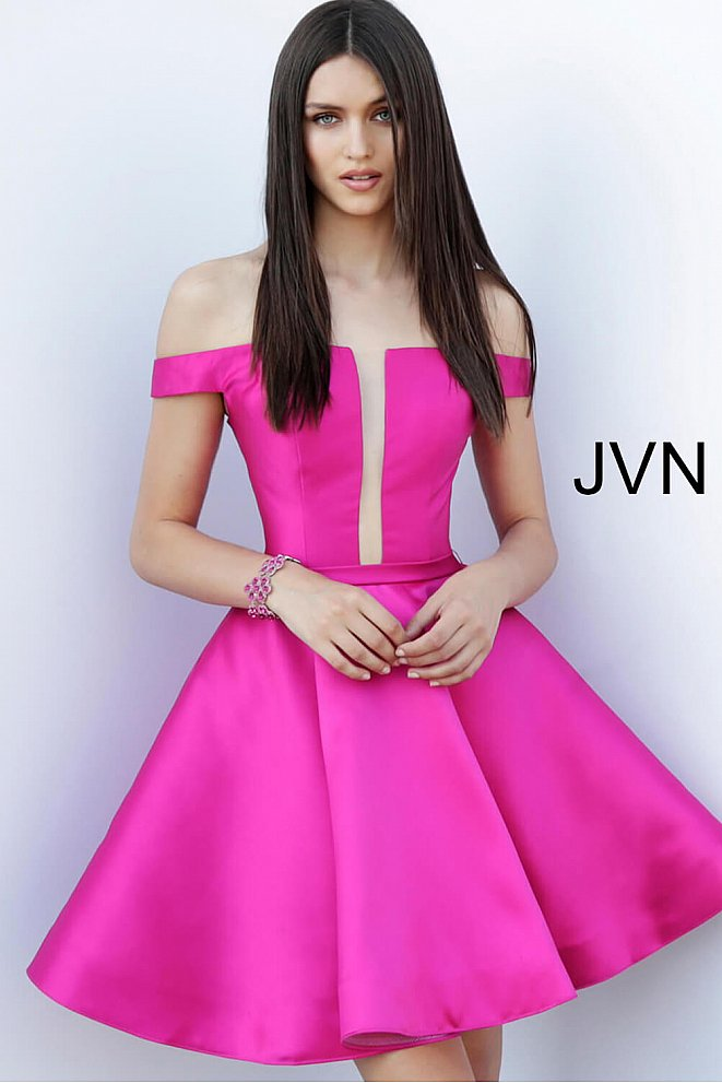 JVN62742 Fuchsia Off the Shoulder Fit and Flare Homecoming Dress
