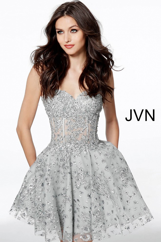 Silver Corset Bodice Sweetheart Neck Homecoming Dress JVN62749