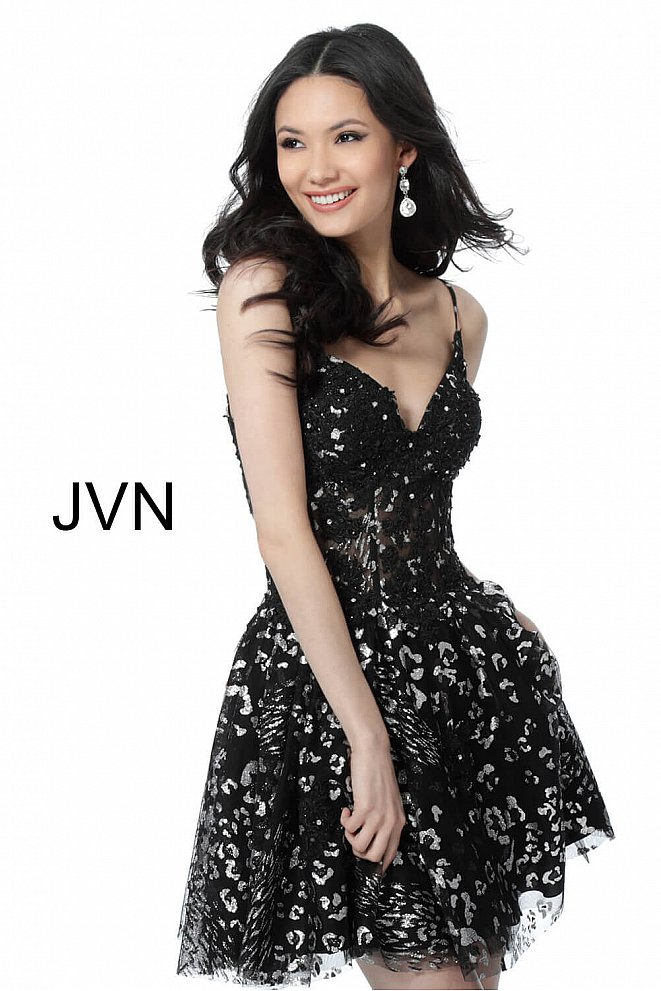 JVN62765 Black Silver Fit and Flare Spaghetti Straps Homecoming Dress