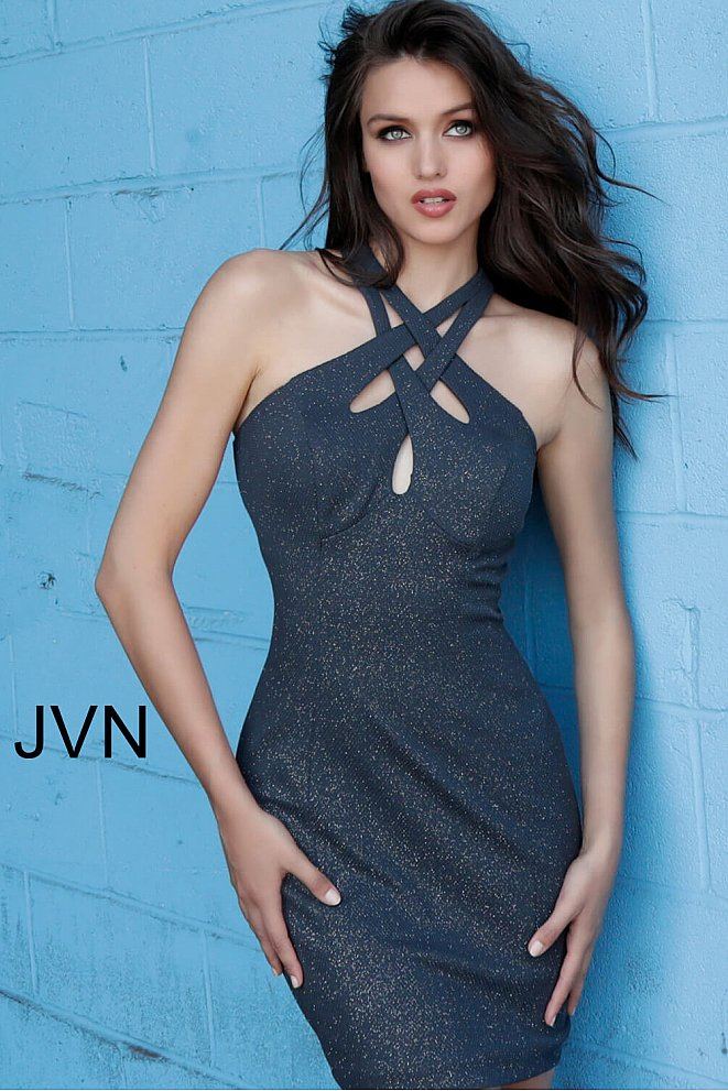 JVN62927 Steel Criss Cross Neck Backless Short Dress