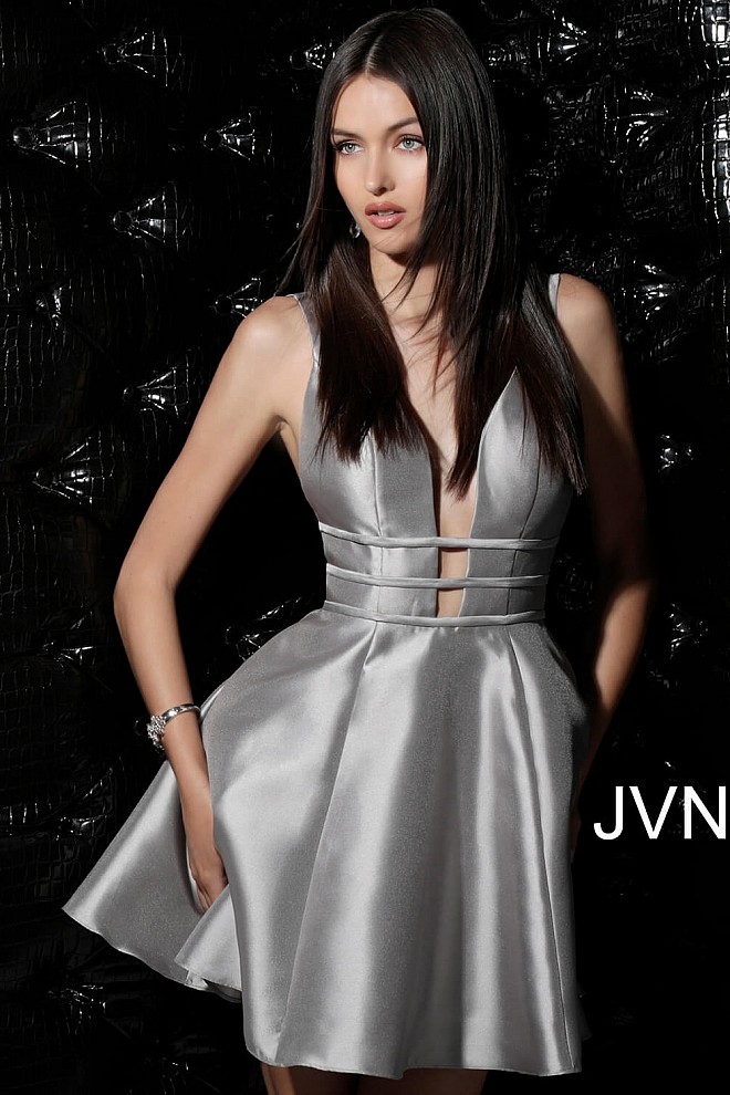 Taupe Open Back Fit and Flare Homecoming Dress JVN62950