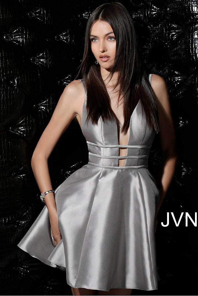 JVN62950 Taupe Open Back Fit and Flare Homecoming Dress