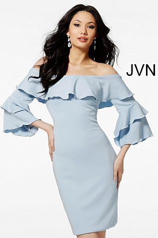 Light Blue Three Quarter Sleeve Jersey Short Dress JVN62960