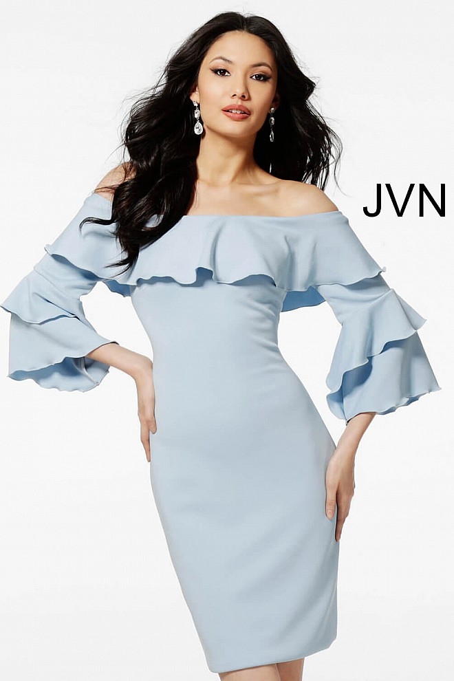 d79085ccebc Light blue jersey fitted off the shoulder long sleeves cocktail dress.