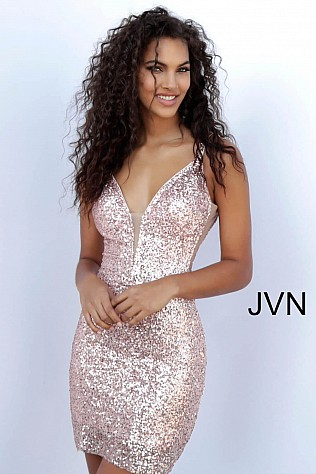 Rose Gold Fully Embellished Fitted Short Dress JVN63205
