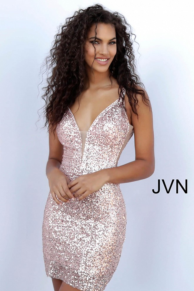 62e45acc5207 Rose gold short fitted sequin plunging neckline open back dress.