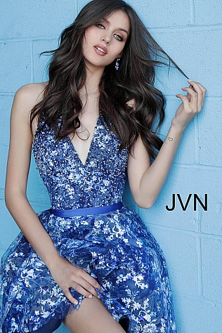 Navy V Neck Fit and Flare Homecoming Dress JVN63698